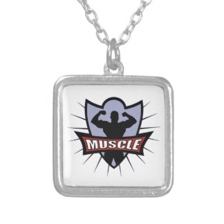 Bodybuilder Muscle Logo Silver Plated Necklace