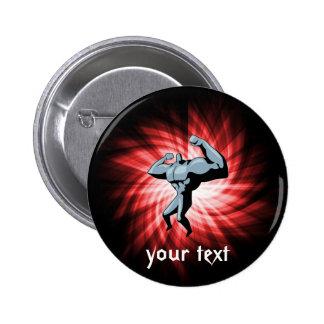 Bodybuilder; red pinback button