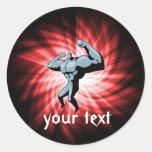 Bodybuilder; red classic round sticker