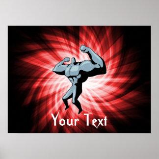 Bodybuilder; rojo póster