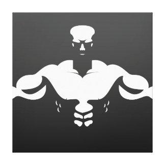 Bodybuilder silhouette cool design canvas print