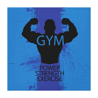 Bodybuilder silhouette cool illustration canvas print