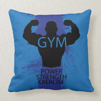 Bodybuilder silhouette cool illustration throw pillow