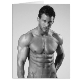 Bodybuilder's Ripped Chest & Abs On Greeting Card