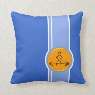 Bodybuilding; blue & orange throw pillow
