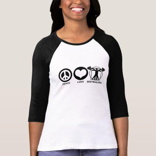 Bodybuilding del amor de la paz camiseta