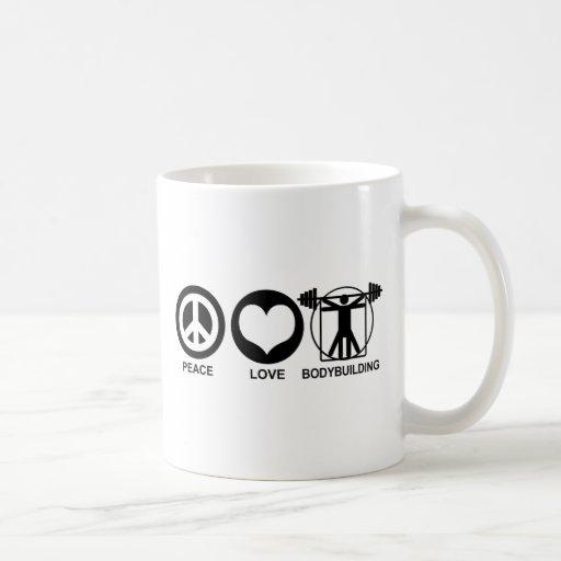 Bodybuilding del amor de la paz taza de café