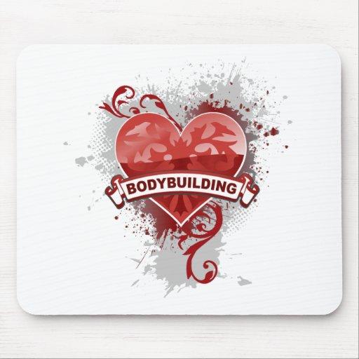 Bodybuilding del corazón alfombrilla de raton