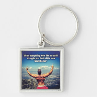 Bodybuilding Fitness Gym Workout Motivation Silver-Colored Square Keychain