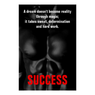 Bodybuilding Fitness Inspirational Black & White Poster