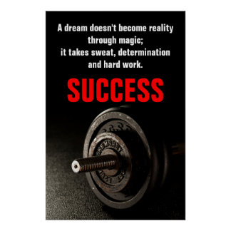 Bodybuilding Fitness Inspirational Success Dumbell Poster