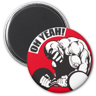 Bodybuilding Gym Workout - Bicep Curl - OH YEAH! 2 Inch Round Magnet