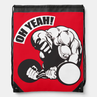 Bodybuilding Gym Workout - Bicep Curl - OH YEAH! Drawstring Backpack
