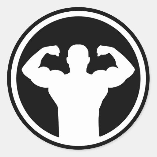 Bodybuilding logo classic round sticker | Zazzle