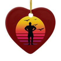 bodybuilding retro sunset, #bodybuilding ceramic ornament