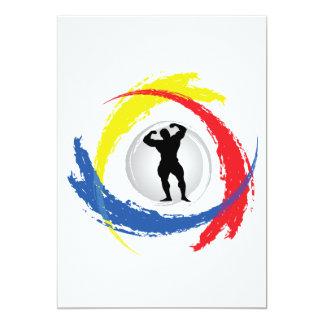 Bodybuilding Tricolor Emblem Card