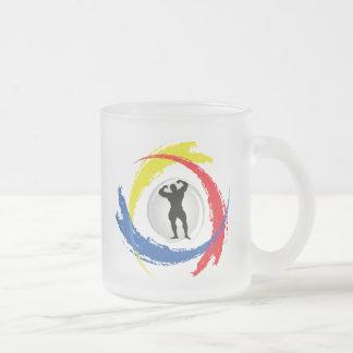 Bodybuilding Tricolor Emblem Frosted Glass Coffee Mug