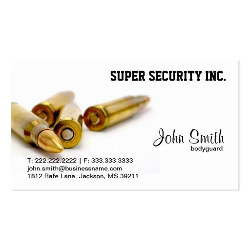 Bodyguard Bullets business card