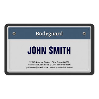 Bodyguard cool car license plate double sided standard for Bodyguard business cards