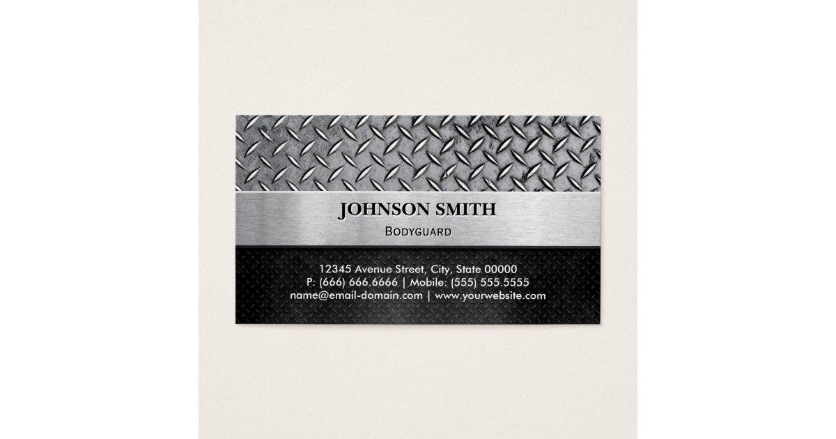 Bodyguard - Diamond Metal Plate Business Card | Zazzle.com