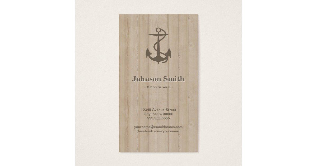 Bodyguard - Nautical Anchor Wood Business Card | Zazzle.com