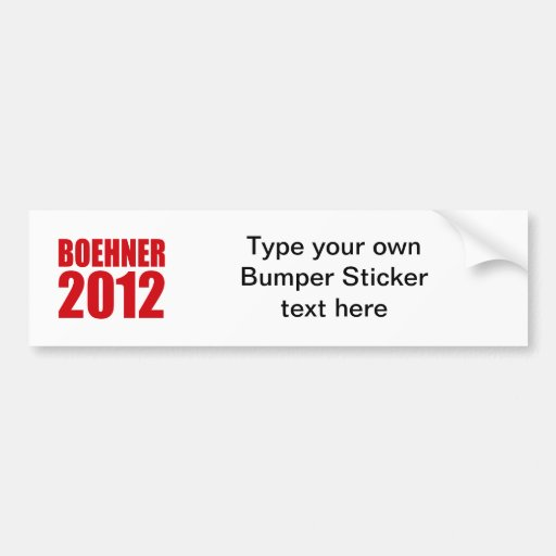 BOEHNER 2012 CAR BUMPER STICKER