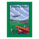 Boeing Field Vintage Travel Poster Card