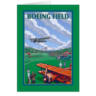 Boeing Field Vintage Travel Poster Greeting Card