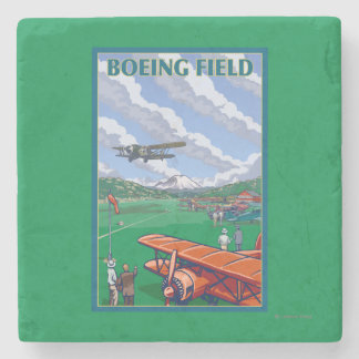 Boeing Field Vintage Travel Poster Stone Coaster