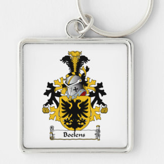 Boelens Family Crest Silver-Colored Square Keychain