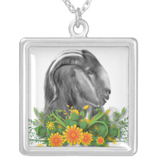 Boer Goat and Flowers Necklace