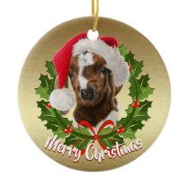 Boer Goat Baby Santa Hat Christmas Ornament