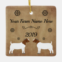 Boer Goat Farm Ceramic Ornament