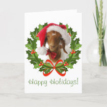 Boer Goat Happy Holidays  in Wreath Holiday Card