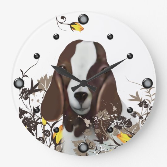 Boer Goat Painting Floral  Wall Clock