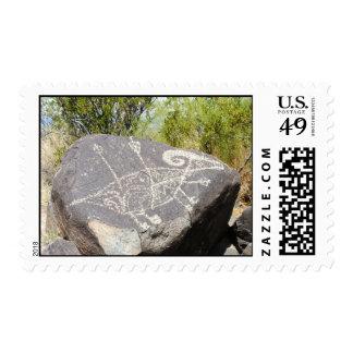 Bog horn sheep petroglyph postage stamp