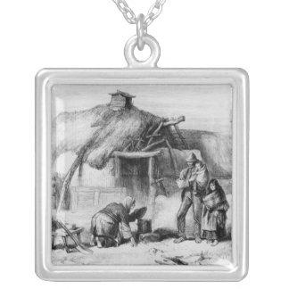 Bog-Trotters Cabin Square Pendant Necklace