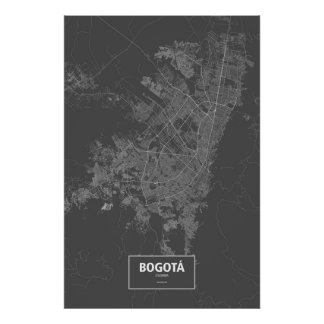 Bogota, Colombia (white on black) Posters