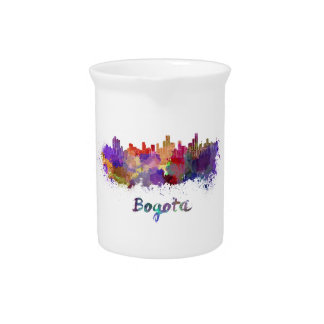 Bogota skyline in watercolor splatters pitcher
