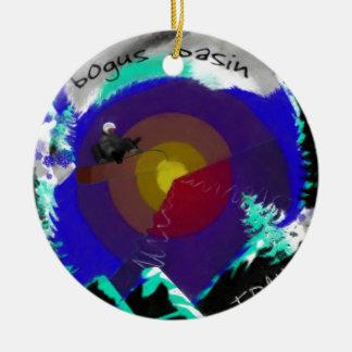 Bogus Basin Idaho Double-Sided Ceramic Round Christmas Ornament