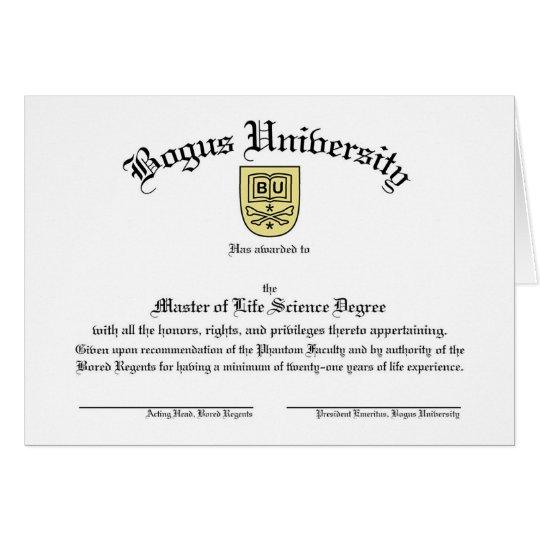 Bogus University Diploma Card