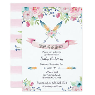 Boh Watercolor Gender Reveal Bows or Arrows Card