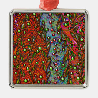 bohemian art abstract pattern square metal christmas ornament