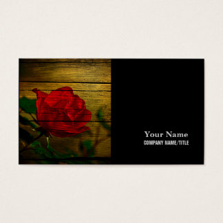 Bohemian barn woodgrain Valentine's day Red Rose Business Card