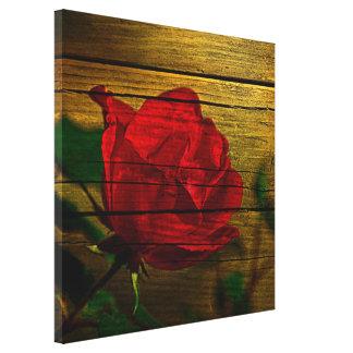 Bohemian barn woodgrain Valentine's day Red Rose Canvas Print