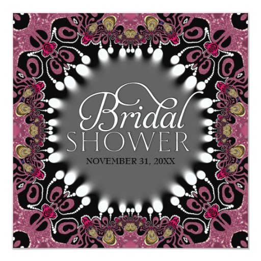Bohemian Batik Pink Black Bridal Shower Party Card