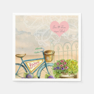 Bohemian Bicycle Watercolor wedding personalized Paper Napkin