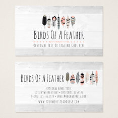 Bohemian Bird Feathers In Blush Pink Tribal Chic Business Card at Zazzle