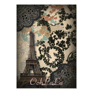 bohemian black floral vintage paris eiffel tower card