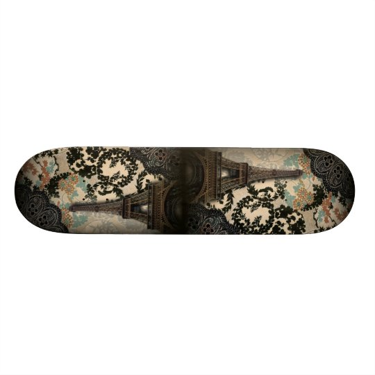 bohemian black floral vintage paris eiffel tower skateboard deck